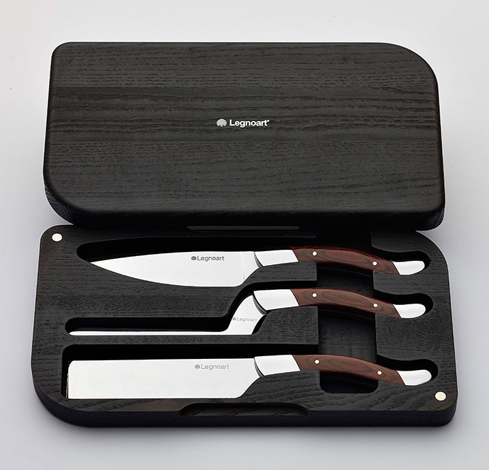 "Facas de Queijo / Cheese knife set ""Fromager"" in stainless steel and dark wood"
