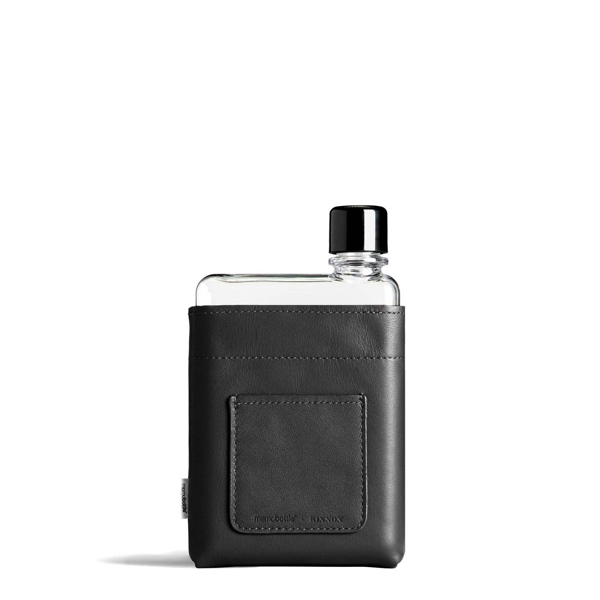 A6 Black Leather Sleeve memobottle