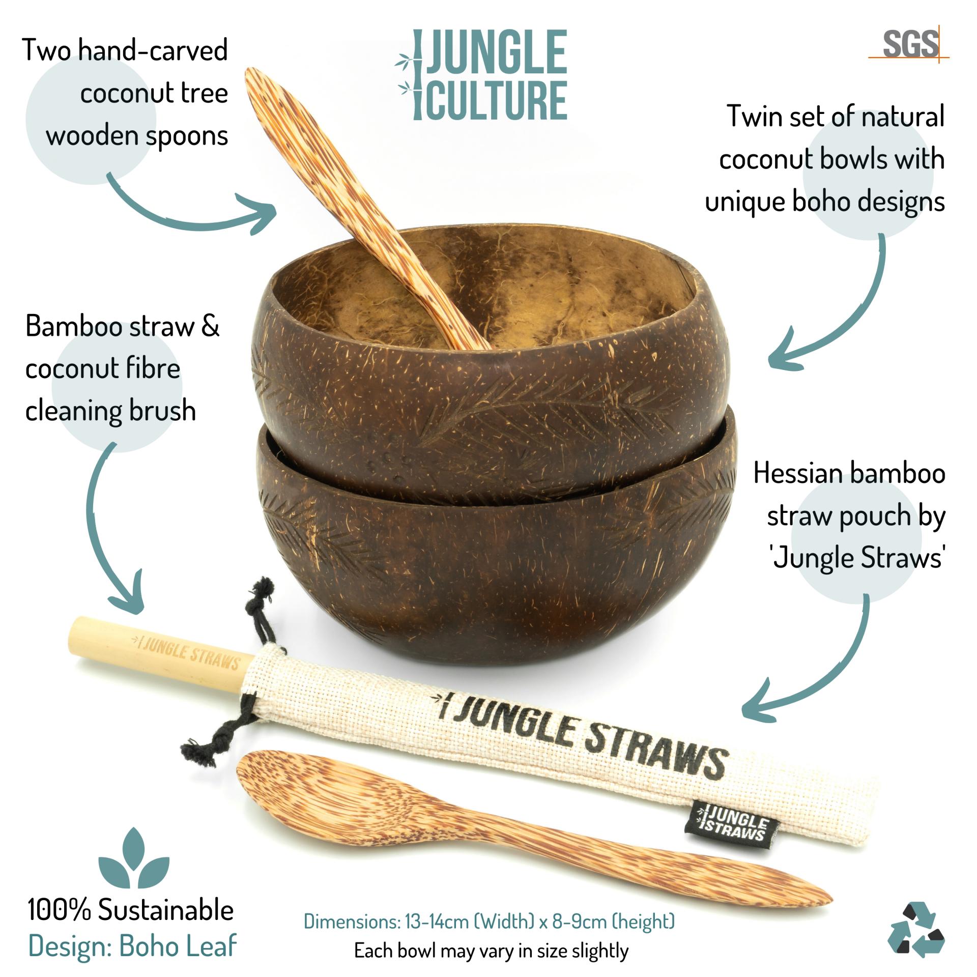 Coconut Bowl Set _ Leaf - Pattern A