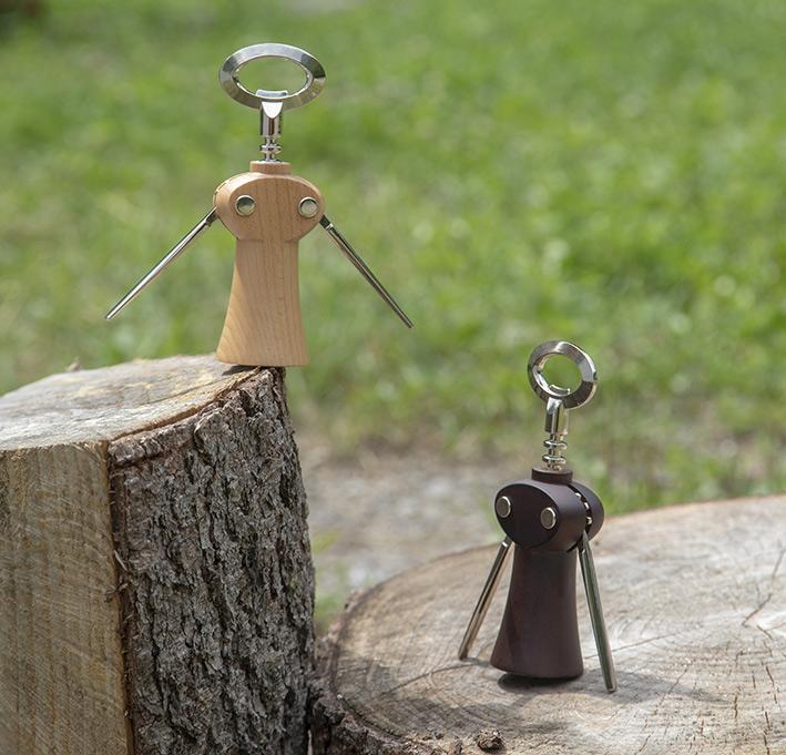 "Saca-rolhas / Winged corkscrew wine bottle opener ""Merlot"" – beech wood"
