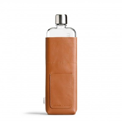 Slim Tan Leather Sleeve memobottle
