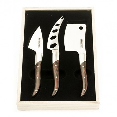 "Facas de Queijo / Cheese knife set ""Reggio"" in stainless steel and dark wood"