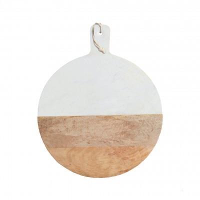 Marble & Wood Paddle Serving Board _ Ø35cm