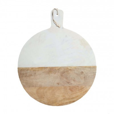 Marble & Wood Paddle Serving Board _ Ø40cm