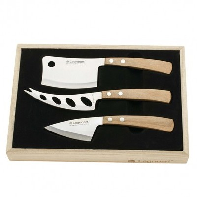 "Facas de Queijo / Cheese knife set ""Lattevivo"" in stainless steel and light wood"