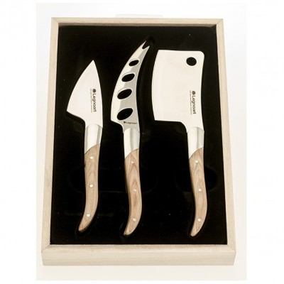 "Facas de Queijo / Cheese knife set ""Reggio"" in stainless steel and light wood"