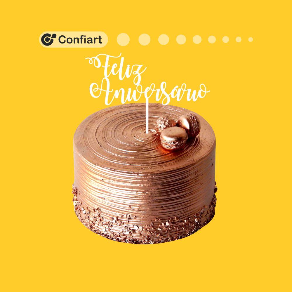 Topo de bolo - Feliz aniversário 20cm