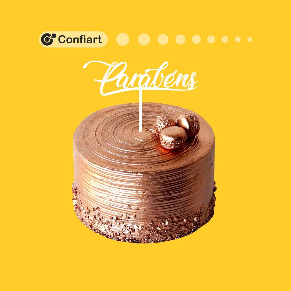 Topo de bolo - Parabéns 20cm
