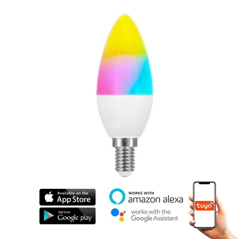 LED Lâmpada Smart WiFi E14 C37 6W RGBW