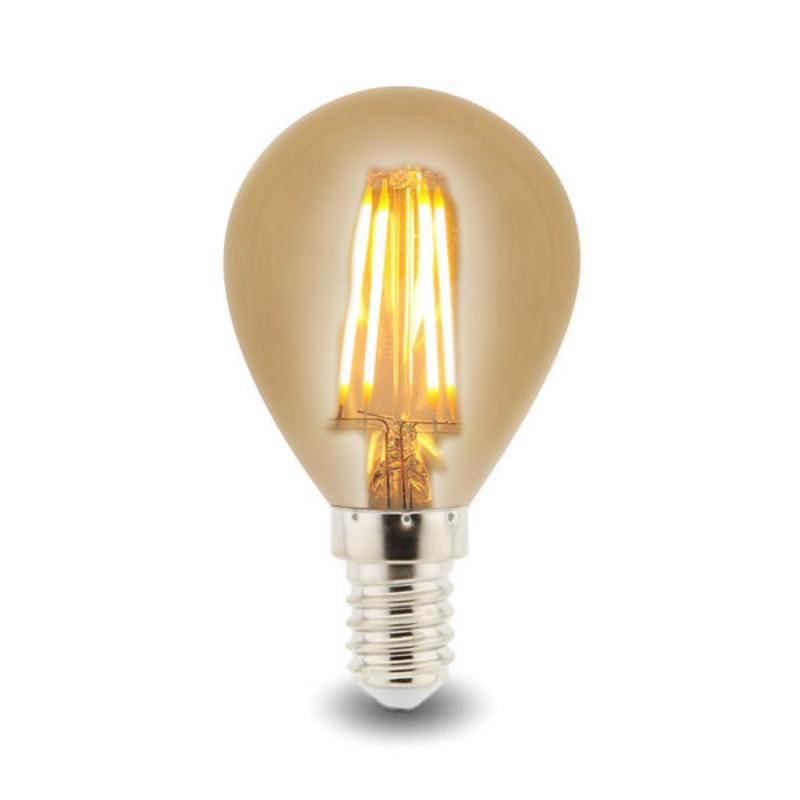 LED Lâmpada Filamento E14 G45 4W Âmbar