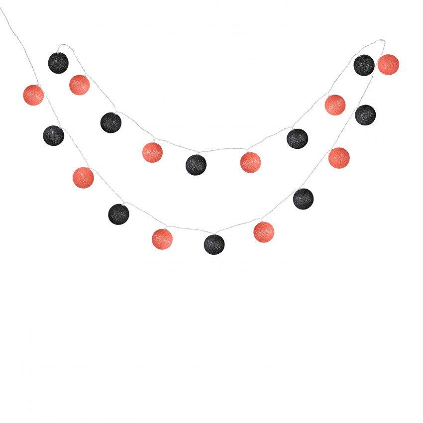 LED grinalda 10 bolas preto/vermelho 230V