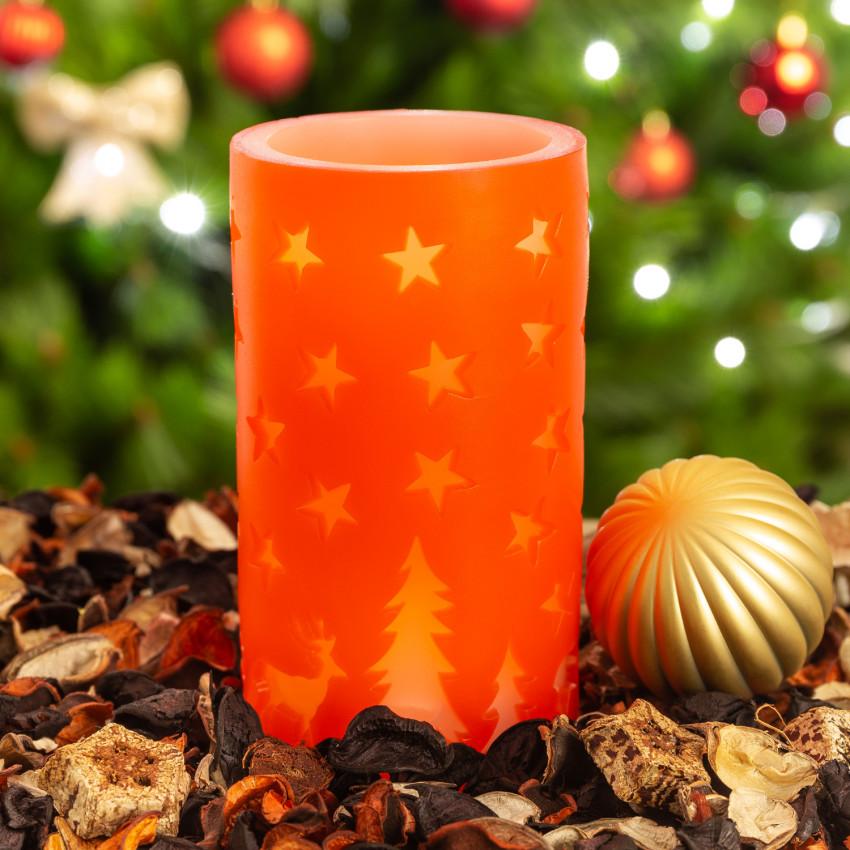 LED Vela Cera Natural Natal Cor Vermelho