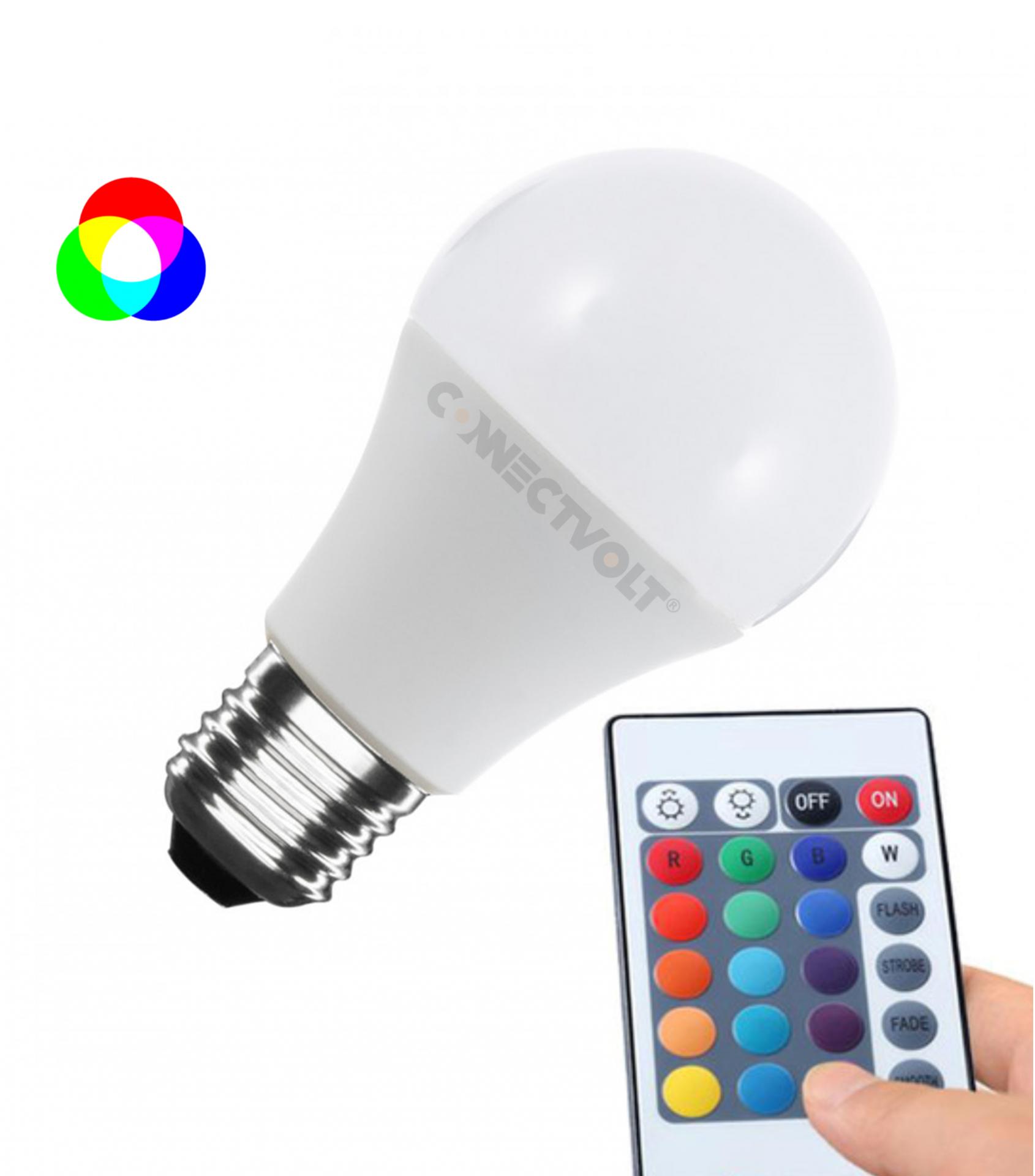 LED lâmpada E27 A60 9W RGBW c/comando