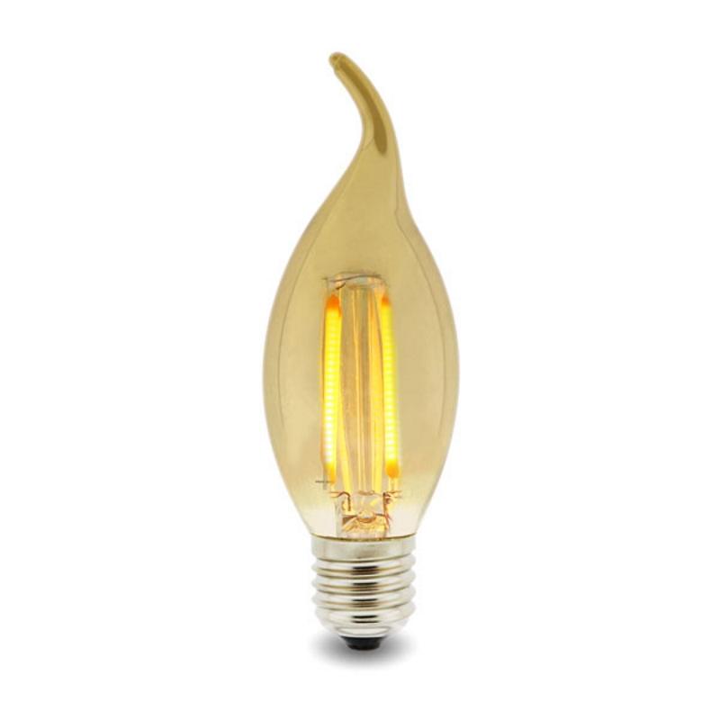 LED Lâmpada Filamento E14 C35 4W Âmbar