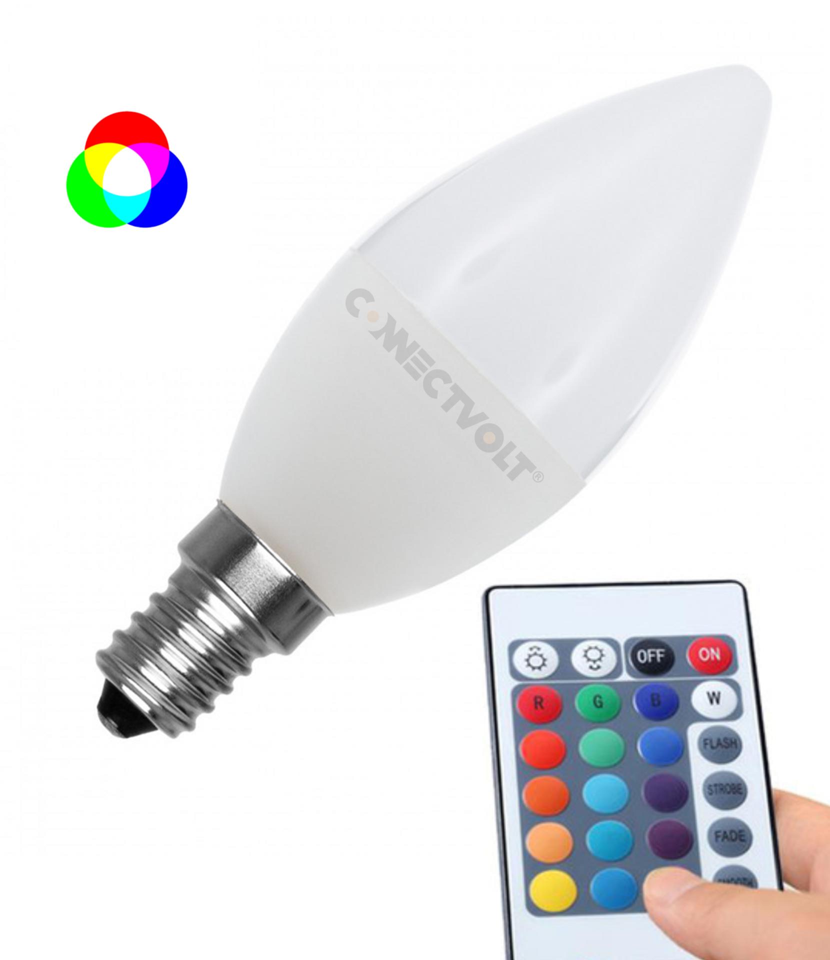 LED lâmpada Vela E14 C37 4.5W RGBW c/comando