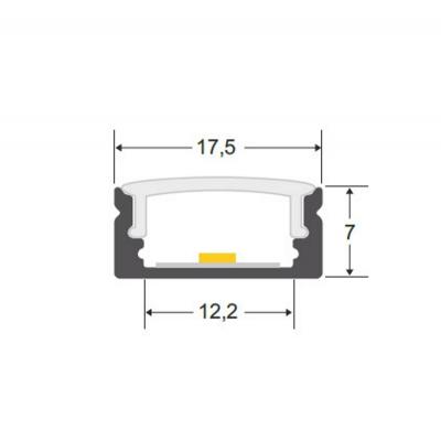 Perfil Alumínio Superfície com Difusor Opalino/Transparente