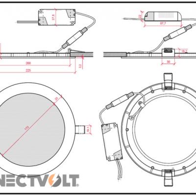 LED downlight Slimline Circular 18W 12VDC