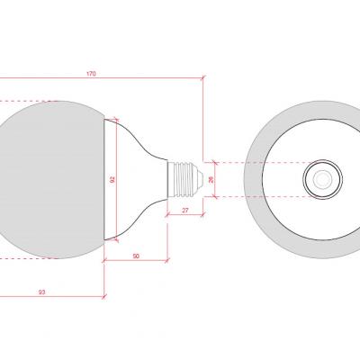 Lâmpada LED E27 G120 15W 6000K