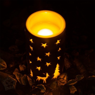 LED Vela Cera Natural Natal Cor Preto