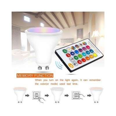 LED lâmpada GU10 5W RGBW c/comando