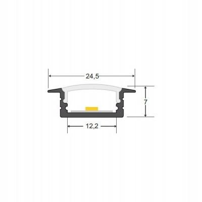 Perfil Alumínio Encastrar com Difusor Opalino/Transparente