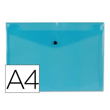 Bolsa Porta Documentos A4 c/ Mola Azul Transparente