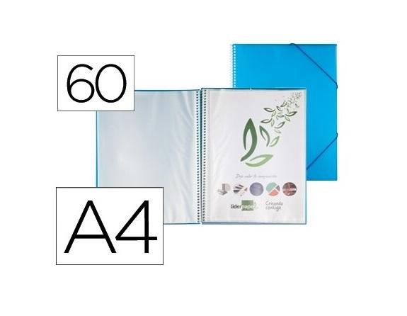Capa Catalogo 60 Bolsas c/ Espiral Azul c/ Elastico