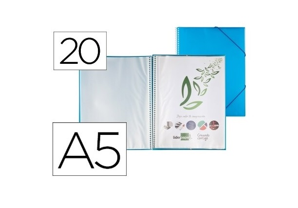 Capa Catalogo 20 Bolsas A5 c/ Espiral Azul c/ Elastico