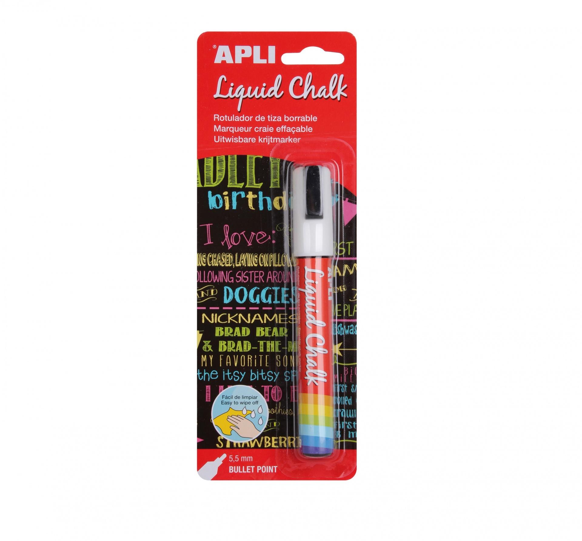 Marcador Giz Liquido APLI Branco 5,5mm