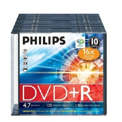 DVDR+ Philips Slim (Caixa c/ 10)
