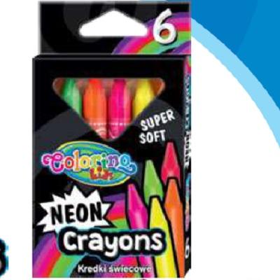 Lapis Cera 6 Cores Neon Colorino