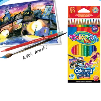 Lapis Cor 12 Cores Aquarelle + Pincel Colorino