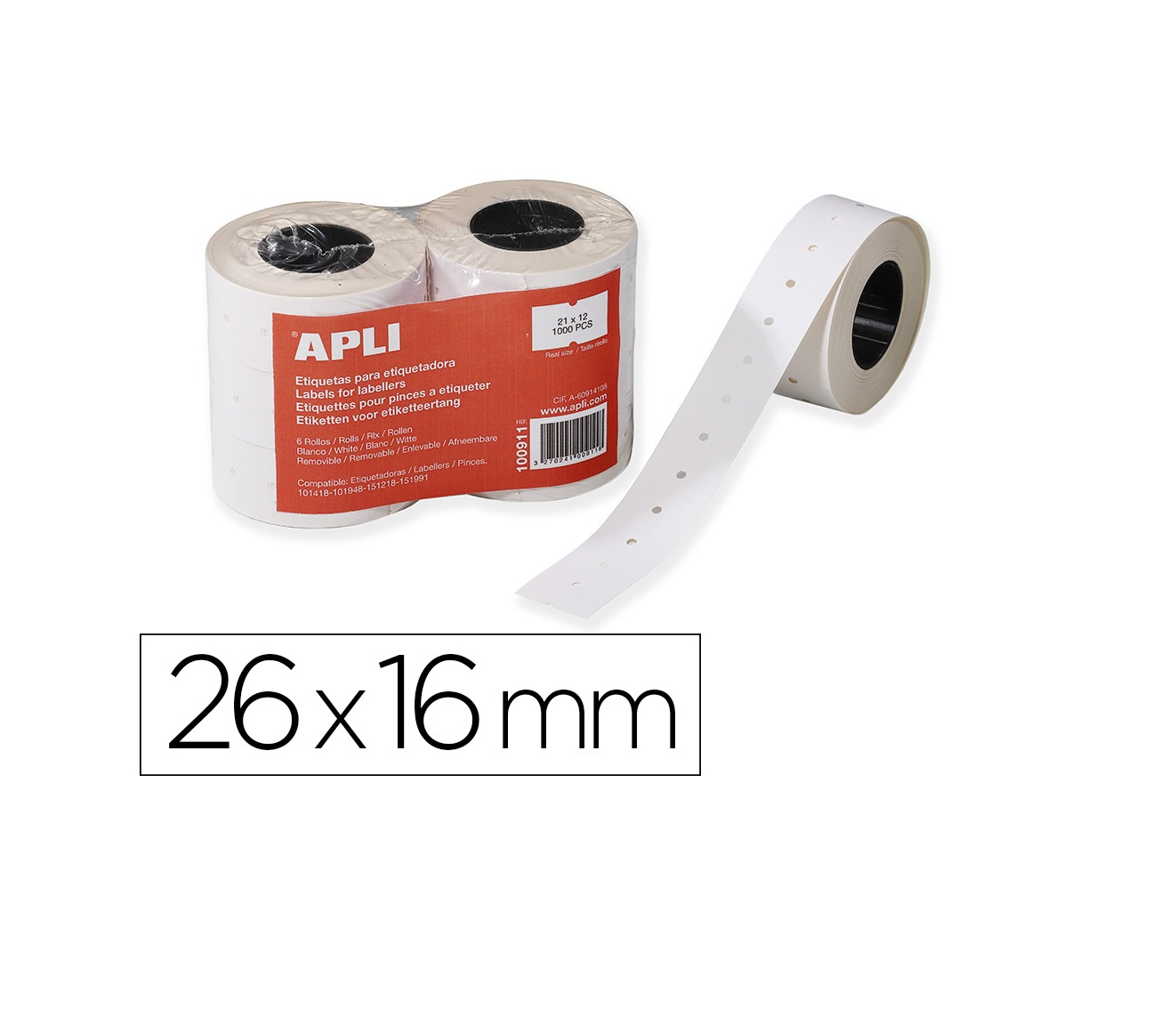 Etiquetas 26x16mm Branca APLI