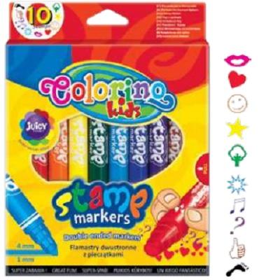 Marcador Duas Pontas Carimbo 10 Cores Colorino