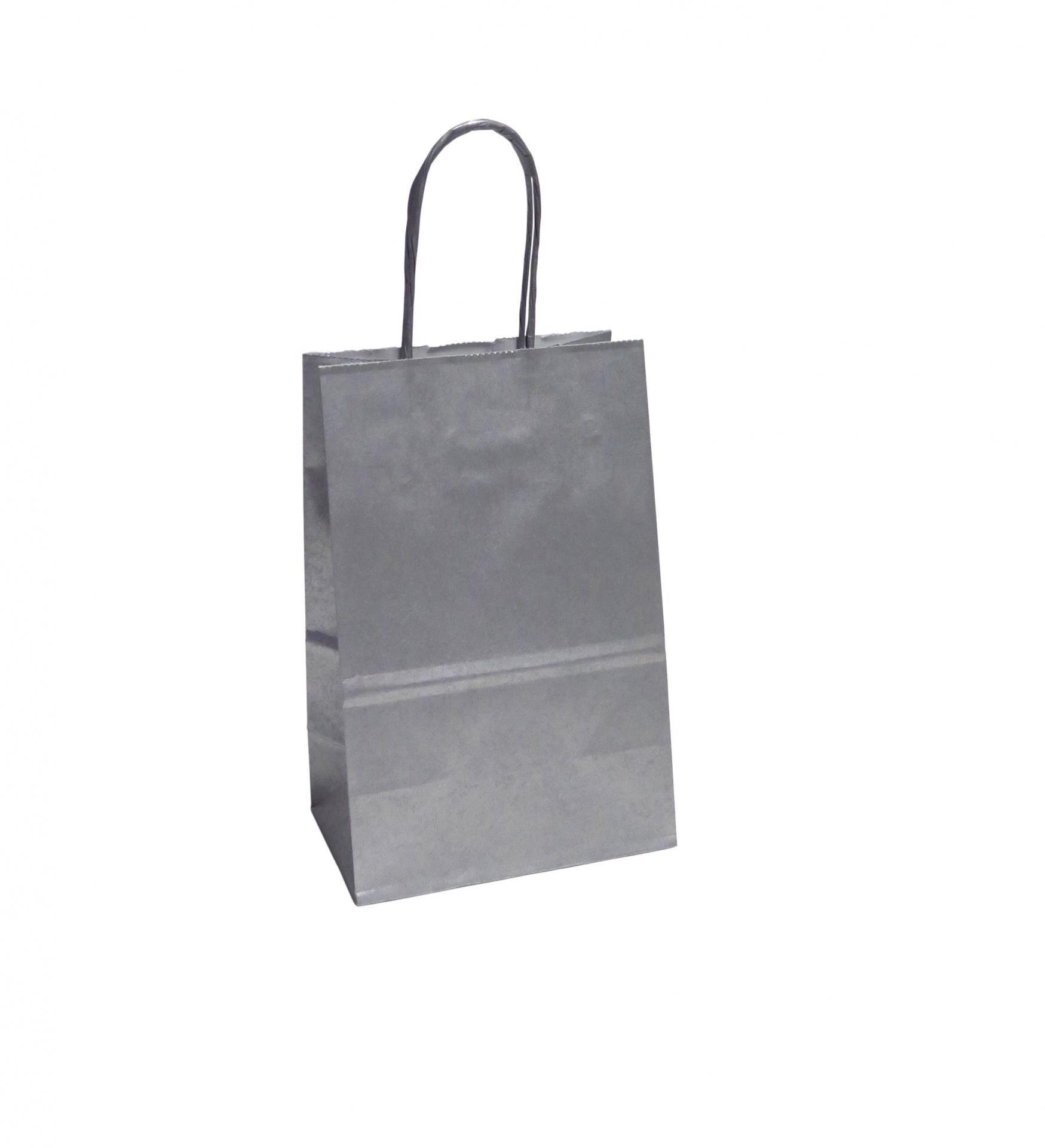 Saco Papel Mini prata 13,5x11x6 cm