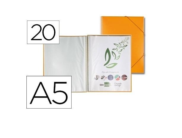 Capa Catalogo 20 Bolsas A5 c/ Espiral Laranja c/ Elastico