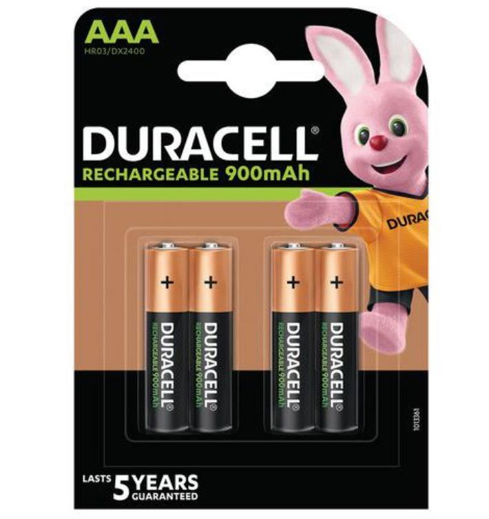Pilha Recarregavel AAA Duracell 850mAh (4 pilhas)