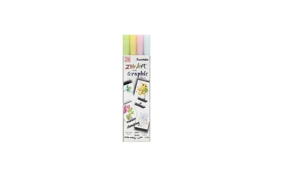 Marcador Zig Fabricolor Brush Pen c/2 Pontas C/4 Cores
