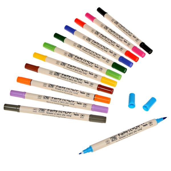Marcador Zig Fabricolor Brush Pen c/2 Pontas Preto