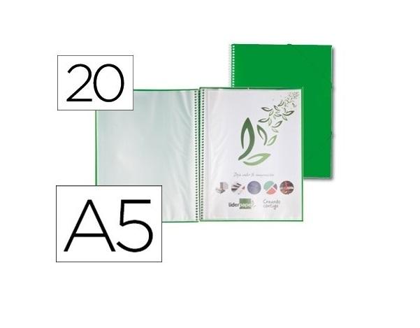 Capa Catalogo 20 Bolsas A5 c/ Espiral Verde c/ Elastico