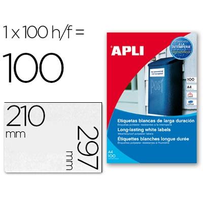 A4 210x297mm (1) Branco Resistente a água APLI (100fls)