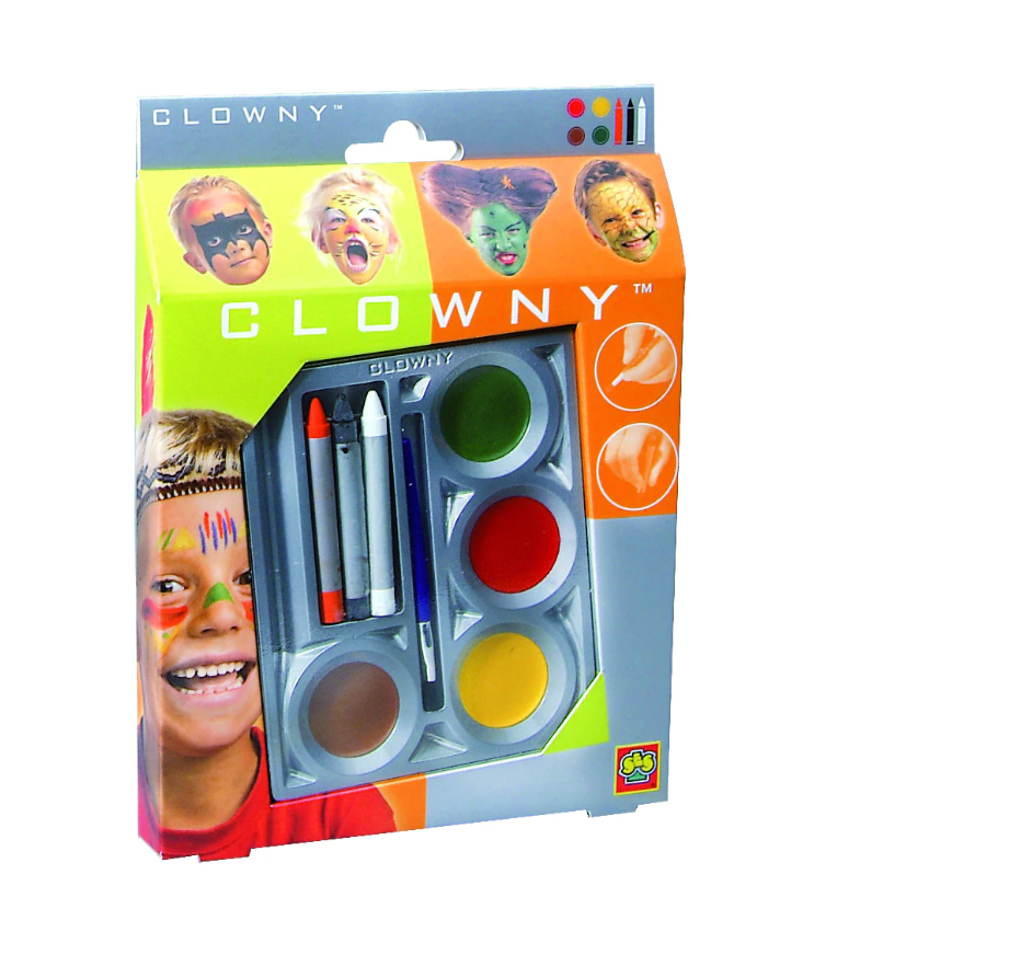 Conjunto Pintura Facial Clowny C/4 + 3 Lapis