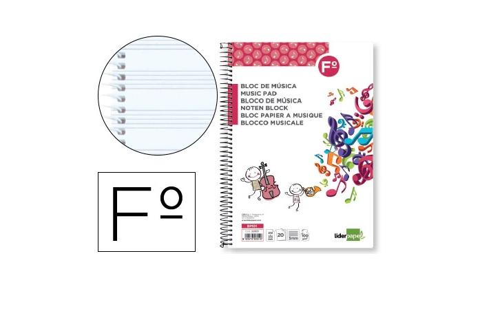 Caderno Musica Folio c/ Espiral 20 fls