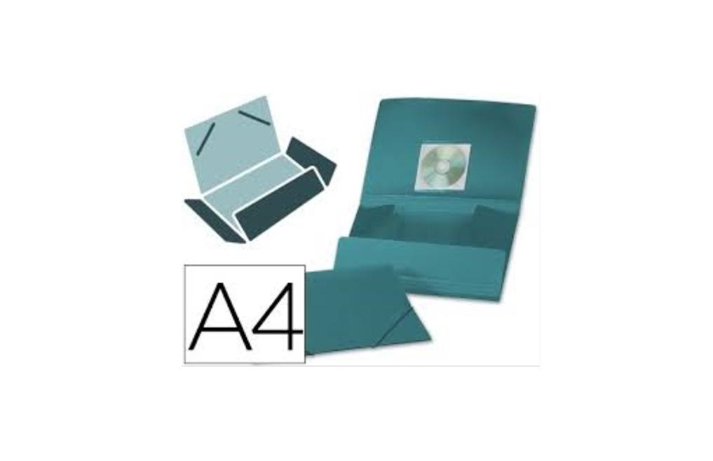 Pasta c/ Elasticos A4 PP Verde p/ 100fls + porta CD
