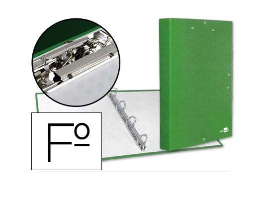 Capa A4 4 Aneis 25mm c/ Mini Clip e Elasticos Verde