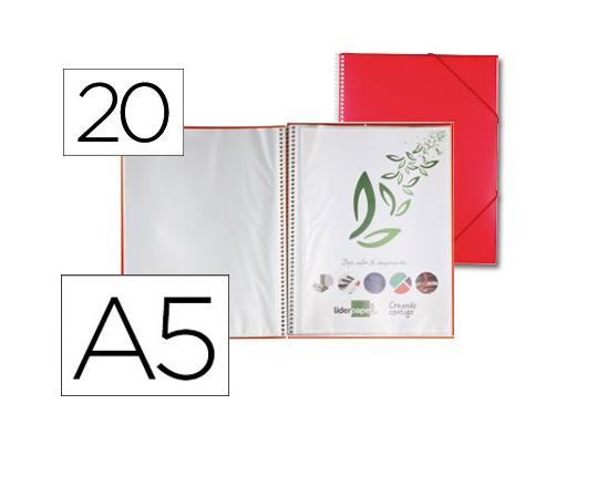 Capa Catalogo 20 Bolsas A5 c/ Espiral Vermelho c/ Elastico