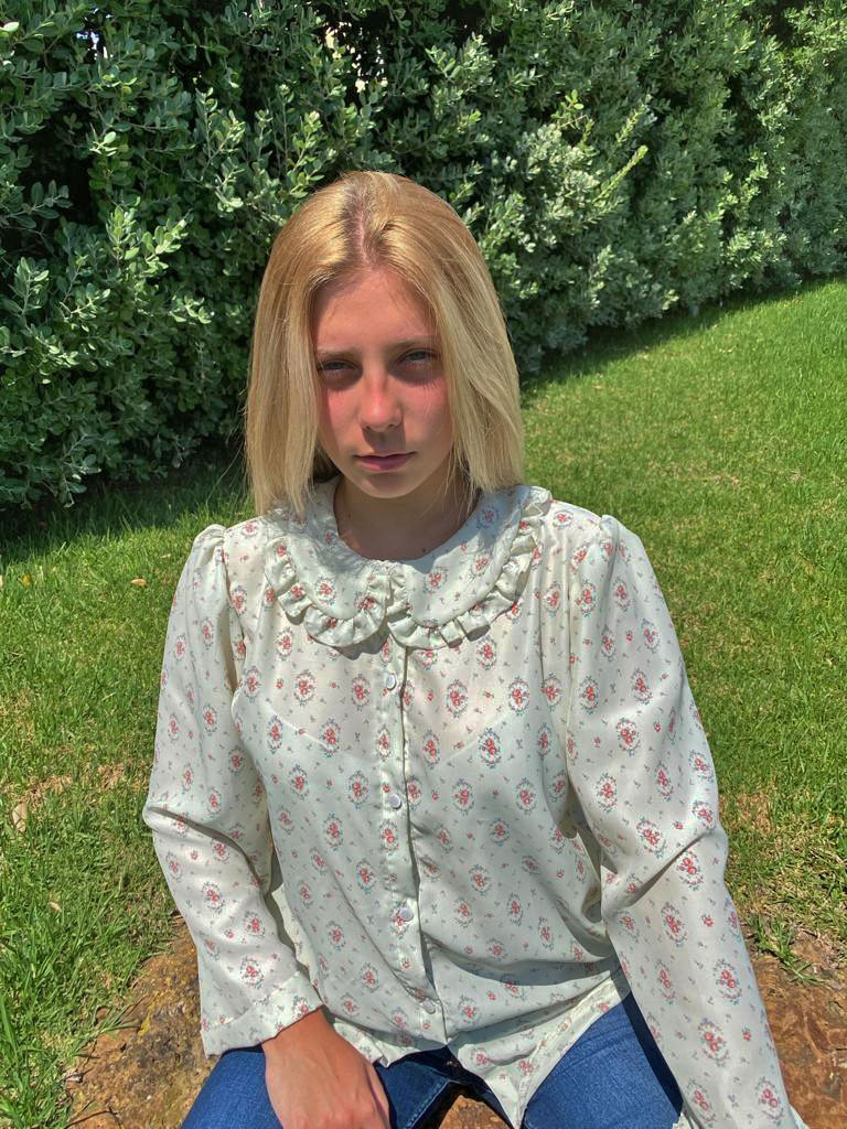 Camisa Hebe verde flor vintage
