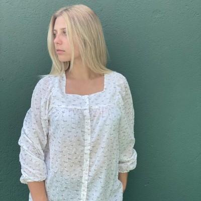 Camisa Artémis Passarinhos cinza