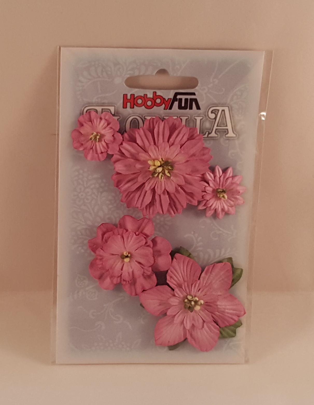 Flores de Papel  cor rosa c folhas para scrapbooking