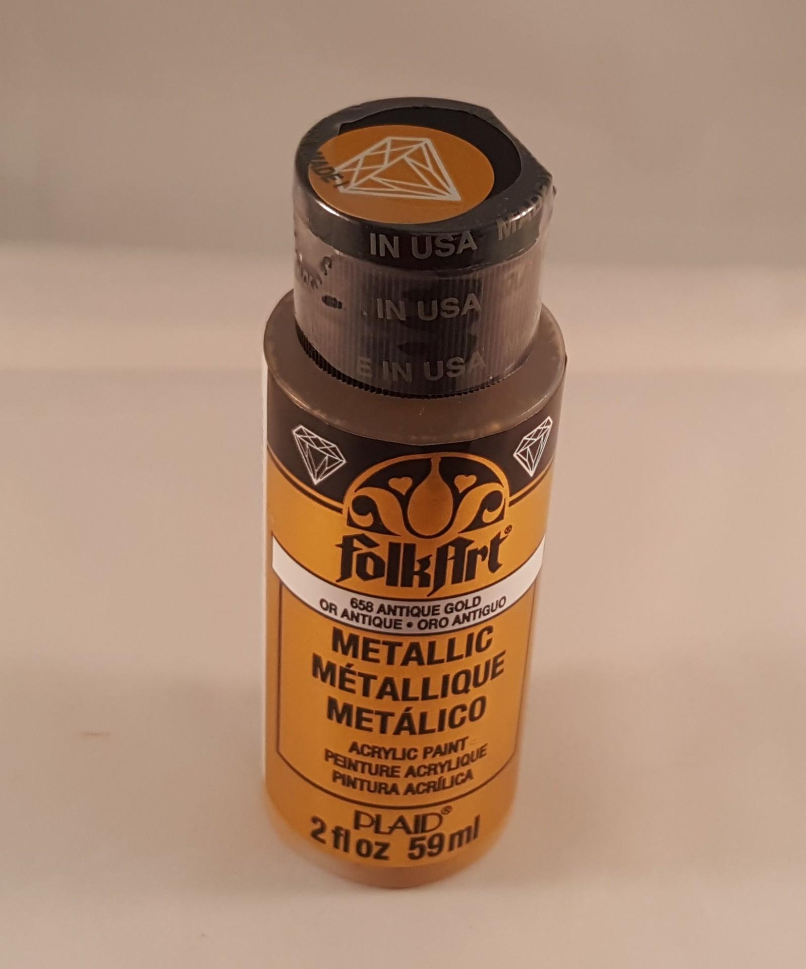 Tinta Acrílica Folkart metalizada ouro antigo